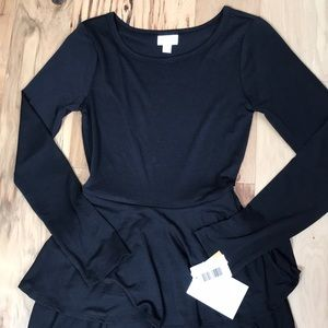 Lularoe XS Georgie dress solid black NWT
